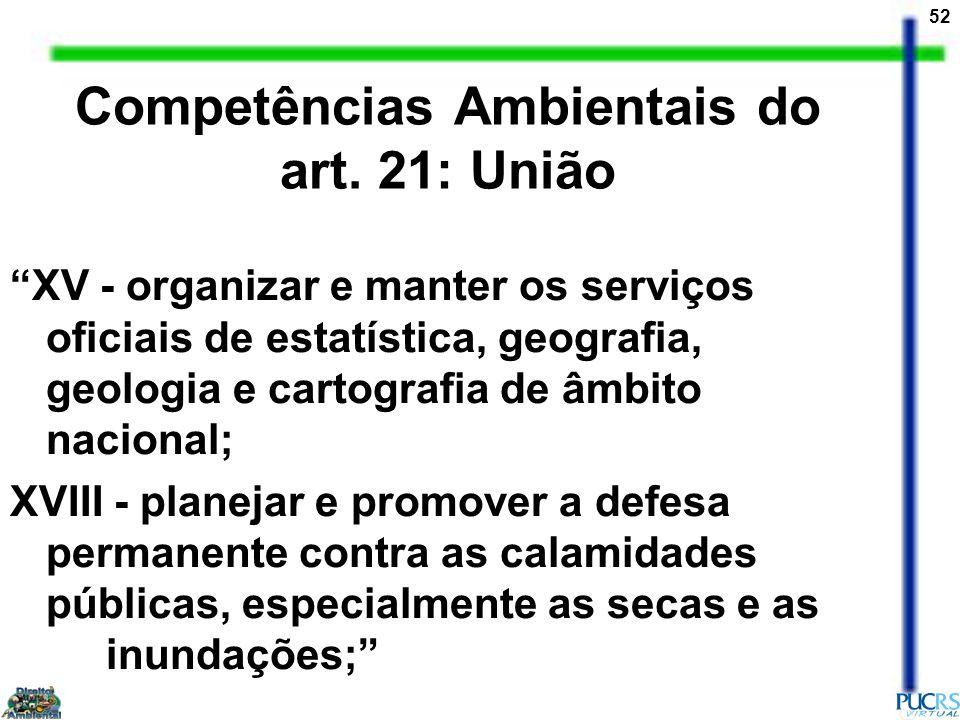 52 Competências Ambientais do art. 21: União XV - organizar e manter os serviços oficiais de estatística, geografia, geologia e cartografia de âmbito