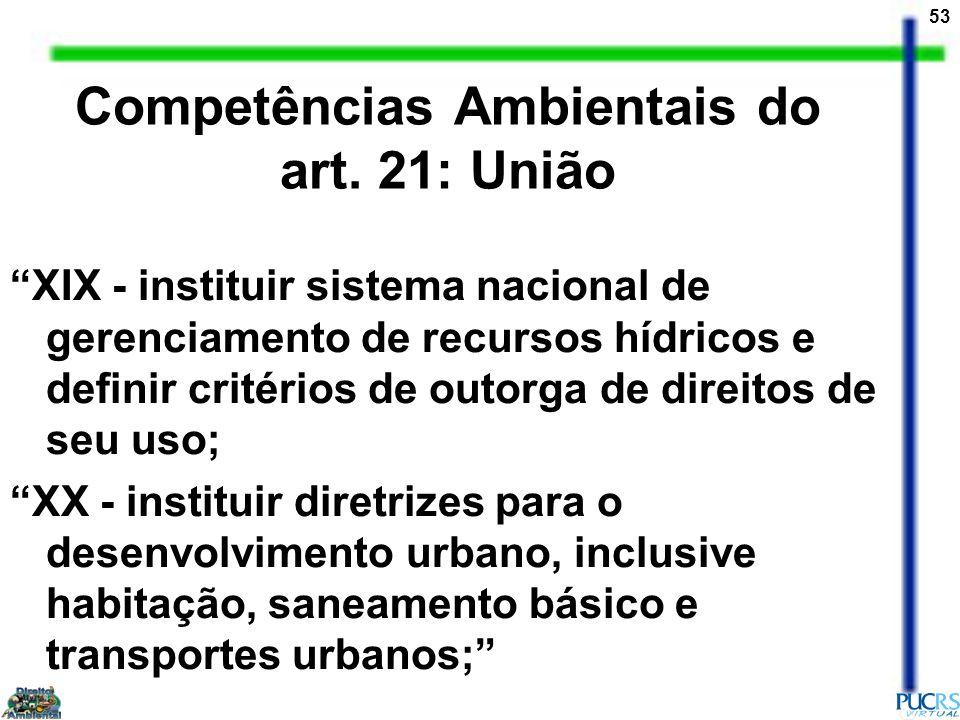 53 Competências Ambientais do art. 21: União XIX - instituir sistema nacional de gerenciamento de recursos hídricos e definir critérios de outorga de