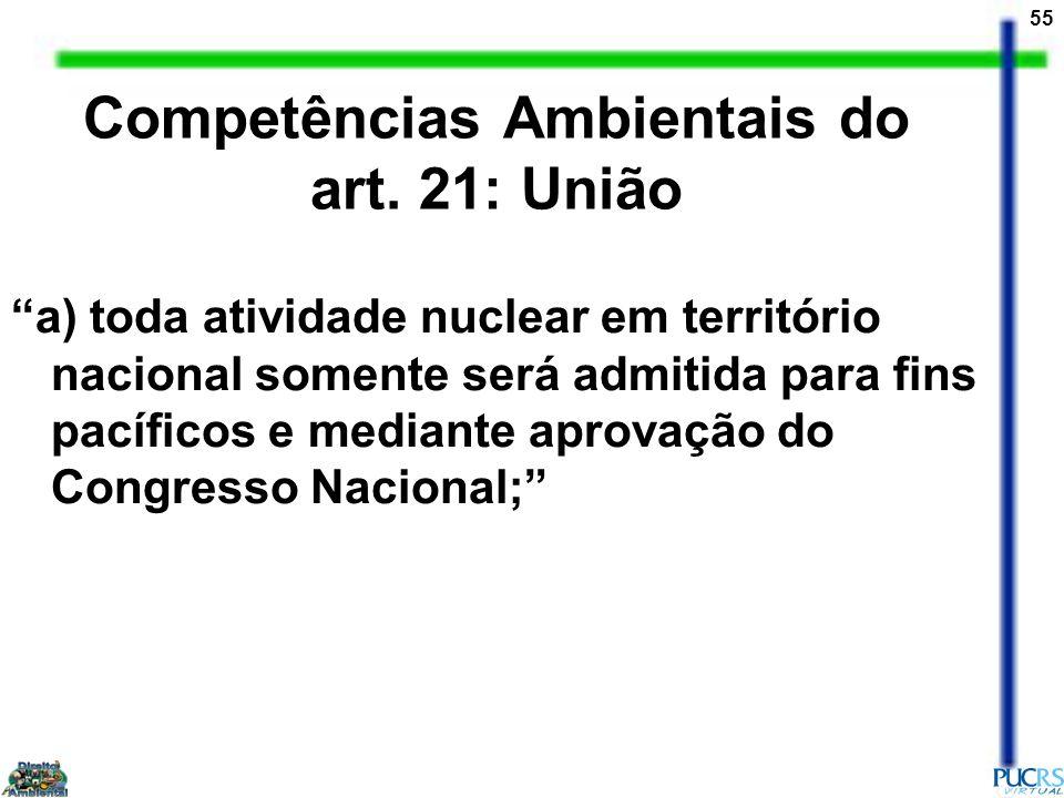 55 Competências Ambientais do art. 21: União a) toda atividade nuclear em território nacional somente será admitida para fins pacíficos e mediante apr