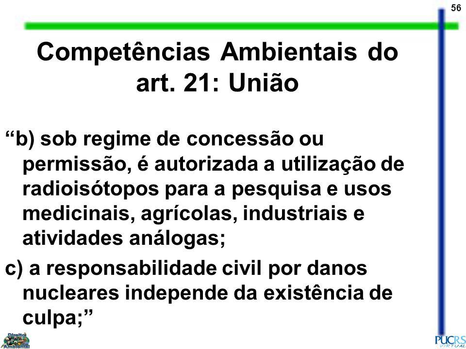 56 Competências Ambientais do art. 21: União b) sob regime de concessão ou permissão, é autorizada a utilização de radioisótopos para a pesquisa e uso