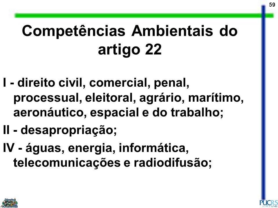 59 Competências Ambientais do artigo 22 I - direito civil, comercial, penal, processual, eleitoral, agrário, marítimo, aeronáutico, espacial e do trab
