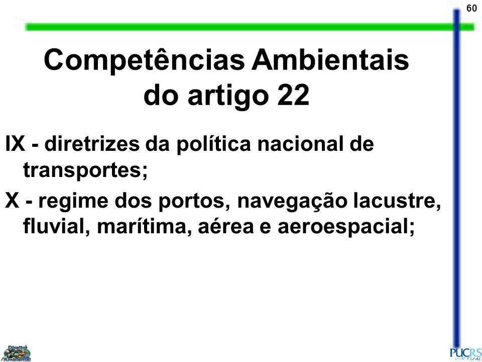 60 IX - diretrizes da política nacional de transportes; X - regime dos portos, navegação lacustre, fluvial, marítima, aérea e aeroespacial; Competênci