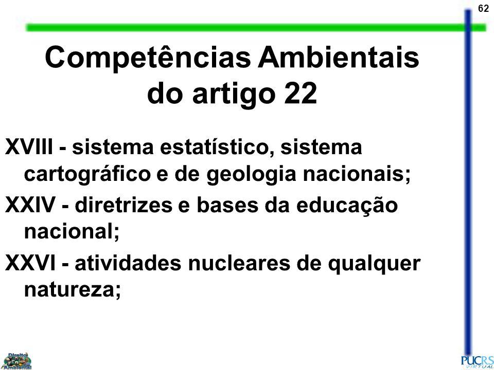 62 XVIII - sistema estatístico, sistema cartográfico e de geologia nacionais; XXIV - diretrizes e bases da educação nacional; XXVI - atividades nuclea