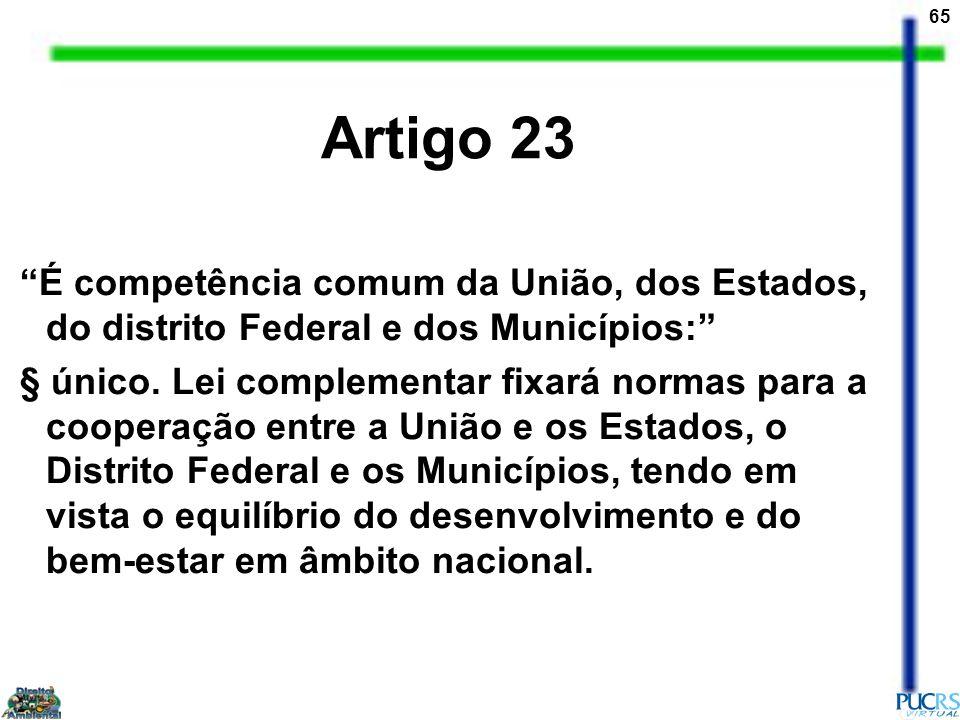 65 Artigo 23 É competência comum da União, dos Estados, do distrito Federal e dos Municípios: § único. Lei complementar fixará normas para a cooperaçã