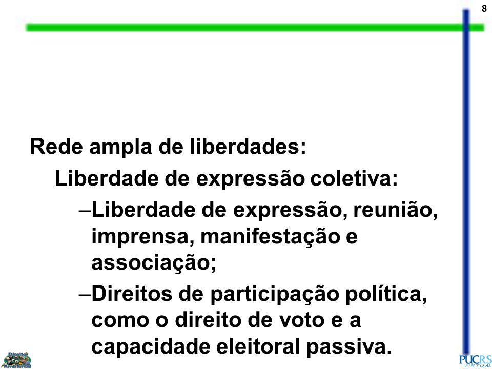8 Rede ampla de liberdades: Liberdade de expressão coletiva: –Liberdade de expressão, reunião, imprensa, manifestação e associação; –Direitos de parti