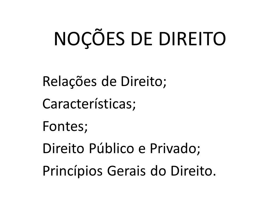 NOÇÕES DE DIREITO Relações de Direito; Características; Fontes; Direito Público e Privado; Princípios Gerais do Direito.