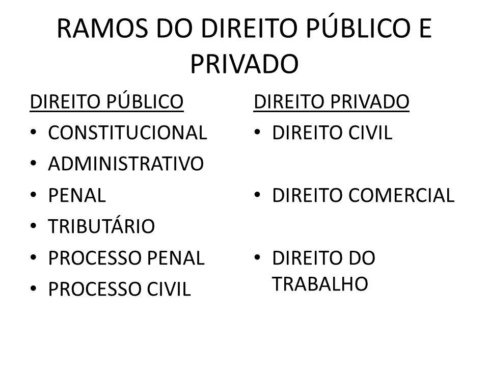 RAMOS DO DIREITO PÚBLICO E PRIVADO DIREITO PÚBLICO CONSTITUCIONAL ADMINISTRATIVO PENAL TRIBUTÁRIO PROCESSO PENAL PROCESSO CIVIL DIREITO PRIVADO DIREIT