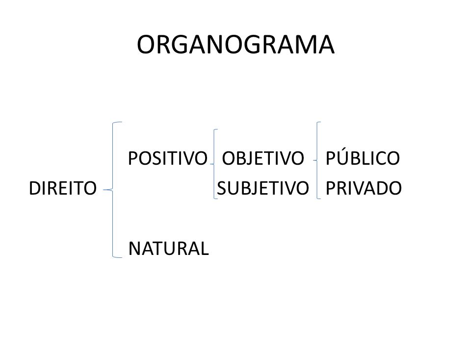 ORGANOGRAMA POSITIVO OBJETIVO PÚBLICO DIREITOSUBJETIVO PRIVADO NATURAL