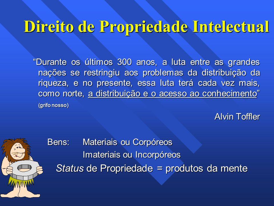 Direito de Propriedade Intelectual Durante os últimos 300 anos, a luta entre as grandes nações se restringiu aos problemas da distribuição da riqueza,