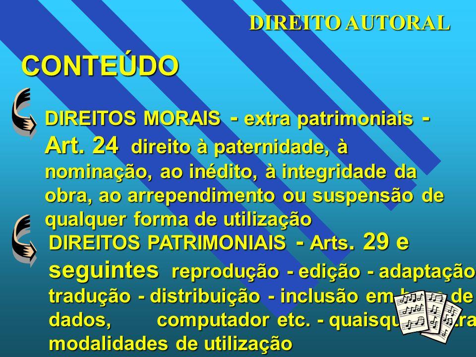DIREITO AUTORAL CONTEÚDO DIREITOS MORAIS - extra patrimoniais - Art. 24 direito à paternidade, à nominação, ao inédito, à integridade da obra, ao arre