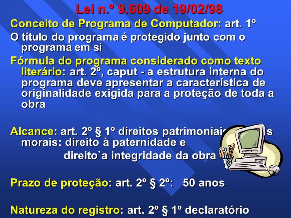 Lei n.º 9.609 de 19/02/98 Conceito de Programa de Computador: art. 1º O título do programa é protegido junto com o programa em si Fórmula do programa