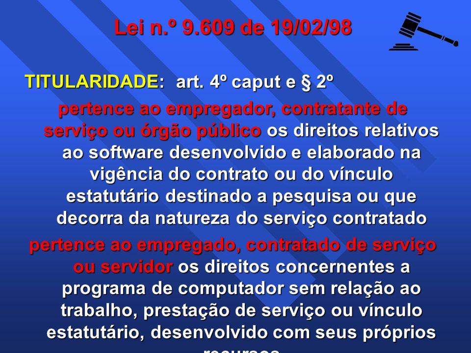 Lei n.º 9.609 de 19/02/98 TITULARIDADE: art. 4º caput e § 2º pertence ao empregador, contratante de serviço ou órgão público os direitos relativos ao