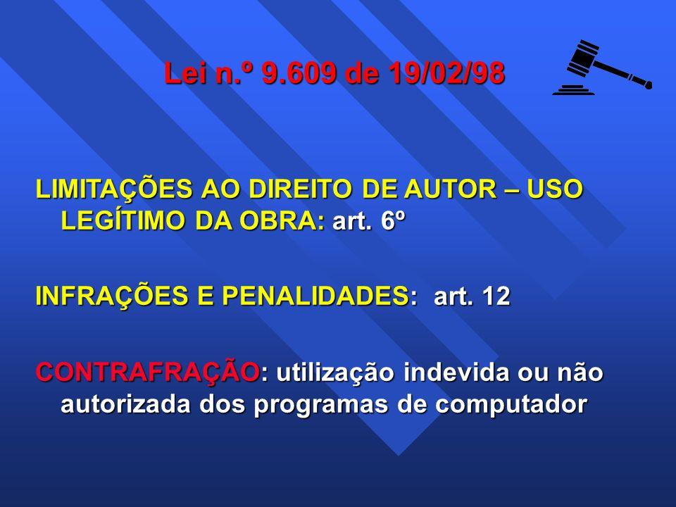 Lei n.º 9.609 de 19/02/98 LIMITAÇÕES AO DIREITO DE AUTOR – USO LEGÍTIMO DA OBRA: art. 6º INFRAÇÕES E PENALIDADES: art. 12 CONTRAFRAÇÃO: utilização ind