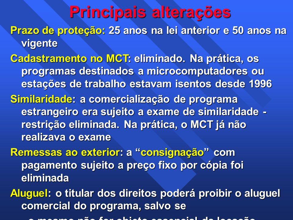 Principais alterações Prazo de proteção: 25 anos na lei anterior e 50 anos na vigente Cadastramento no MCT: eliminado. Na prática, os programas destin
