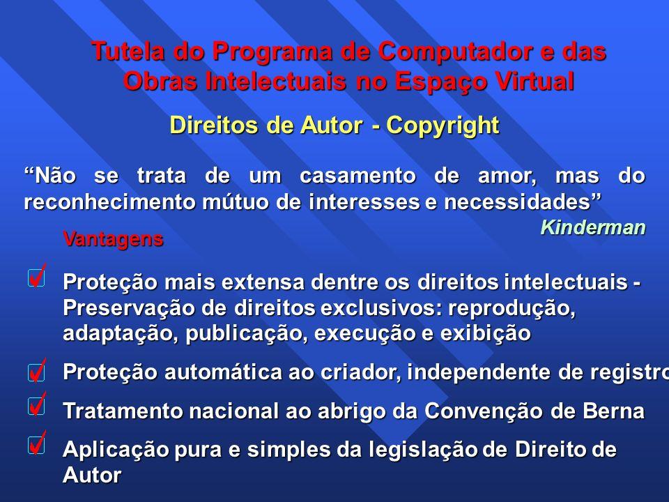 Tutela do Programa de Computador e das Obras Intelectuais no Espaço Virtual Vantagens Proteção mais extensa dentre os direitos intelectuais - Preserva