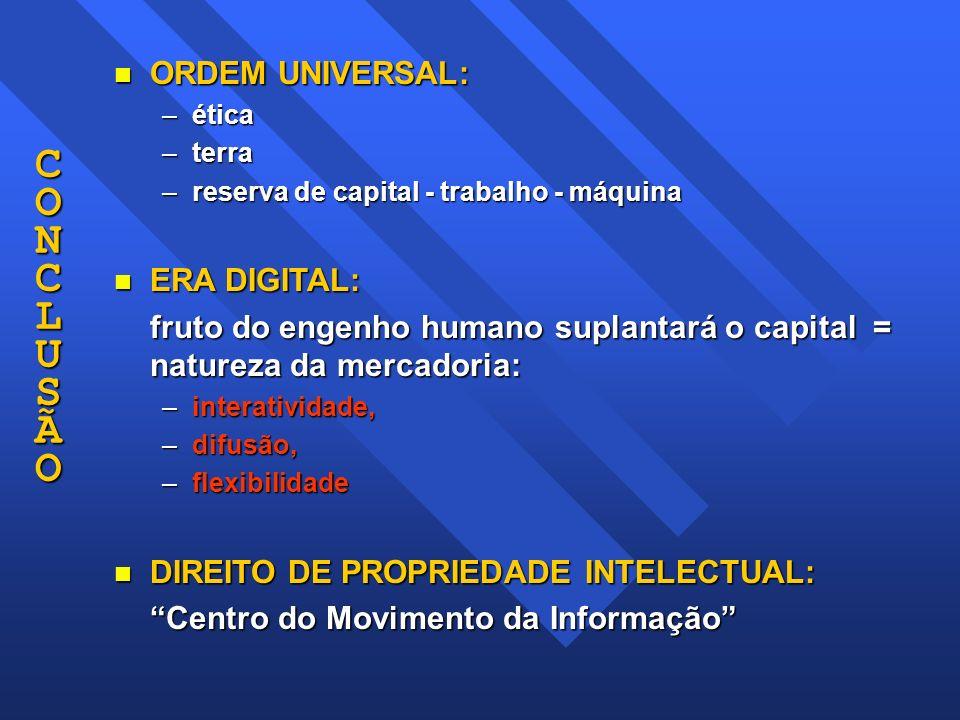 CONCLUSÃOCONCLUSÃOCONCLUSÃOCONCLUSÃO n ORDEM UNIVERSAL: –ética –terra –reserva de capital - trabalho - máquina n ERA DIGITAL: fruto do engenho humano