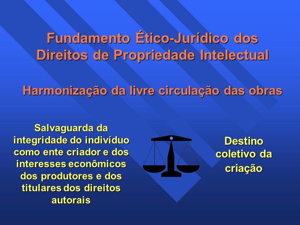 Fundamento Ético-Jurídico dos Direitos de Propriedade Intelectual Harmonização da livre circulação das obras Salvaguarda da integridade do indivíduo c