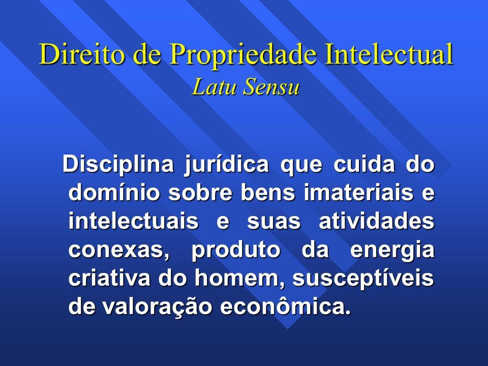 Direito de Propriedade Intelectual Latu Sensu Disciplina jurídica que cuida do domínio sobre bens imateriais e intelectuais e suas atividades conexas,