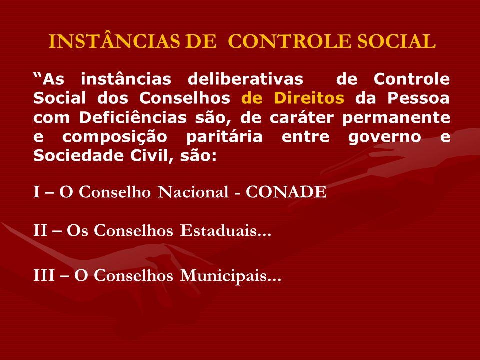 INSTÂNCIAS DE CONTROLE SOCIAL As instâncias deliberativas de Controle Social dos Conselhos de Direitos da Pessoa com Deficiências são, de caráter perm
