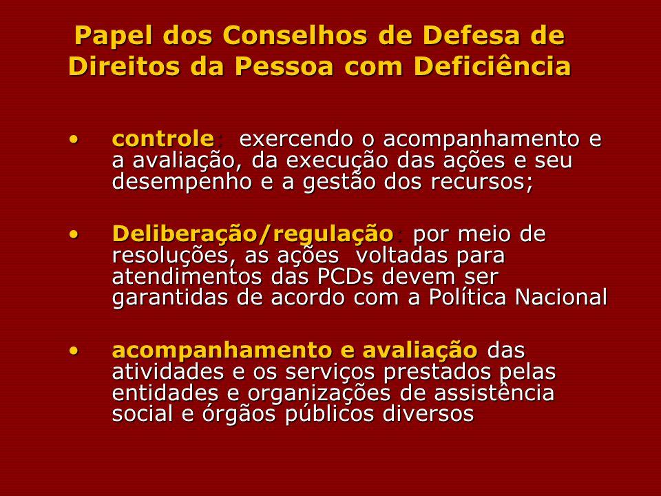 Papel dos Conselhos de Defesa de Direitos da Pessoa com Deficiência controle: exercendo o acompanhamento e a avaliação, da execução das ações e seu de