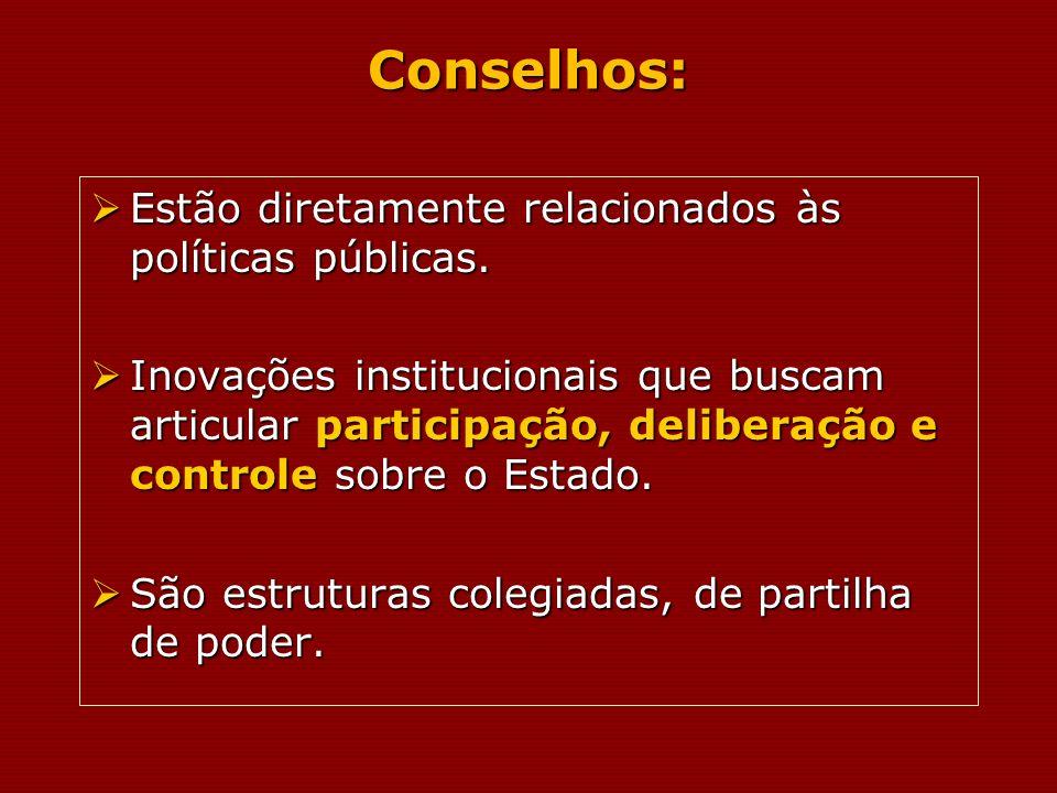 Conselhos: Estão diretamente relacionados às políticas públicas. Estão diretamente relacionados às políticas públicas. Inovações institucionais que bu