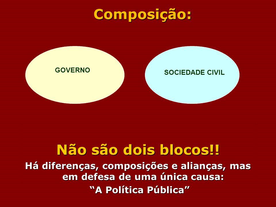 Composição: Não são dois blocos!! Há diferenças, composições e alianças, mas em defesa de uma única causa: A Política Pública A Política Pública GOVER