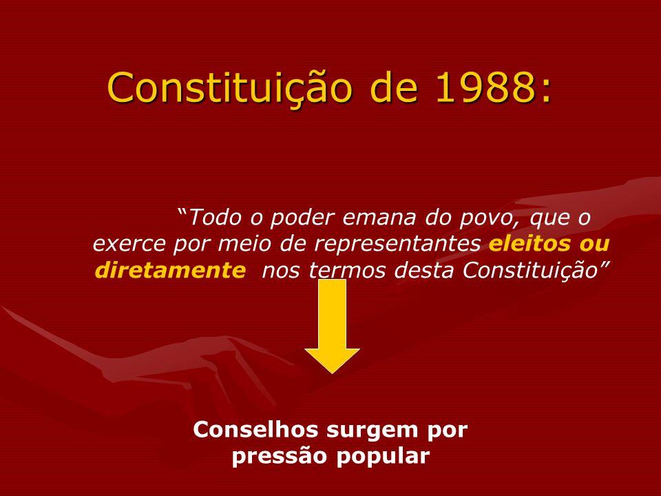 Todo o poder emana do povo, que o exerce por meio de representantes eleitos ou diretamente, nos termos desta Constituição Constituição de 1988: Consel