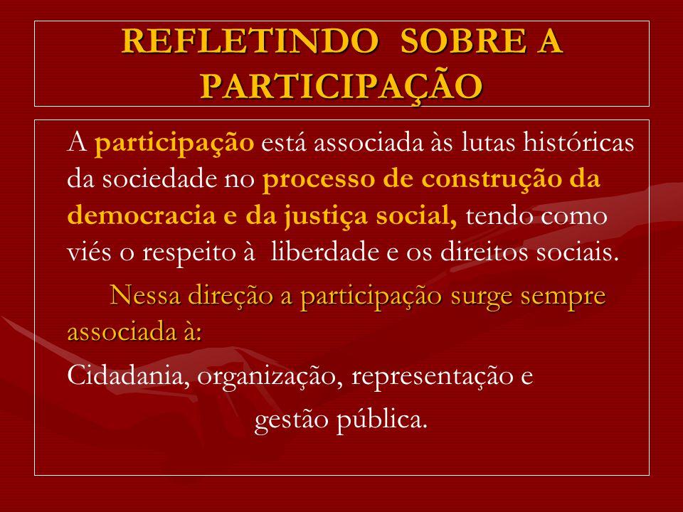 REFLETINDO SOBRE A PARTICIPAÇÃO A participação está associada às lutas históricas da sociedade no processo de construção da democracia e da justiça so