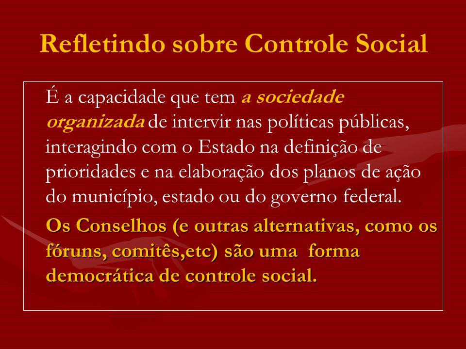 Refletindo sobre Controle Social É a capacidade que tem a sociedade organizada de intervir nas políticas públicas, interagindo com o Estado na definiç