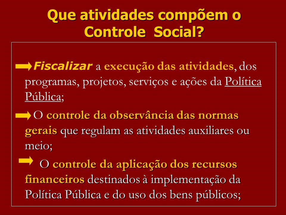 Que atividades compõem o Controle Social? Fiscalizar a execução das atividades, dos programas, projetos, serviços e ações da Política Pública; control