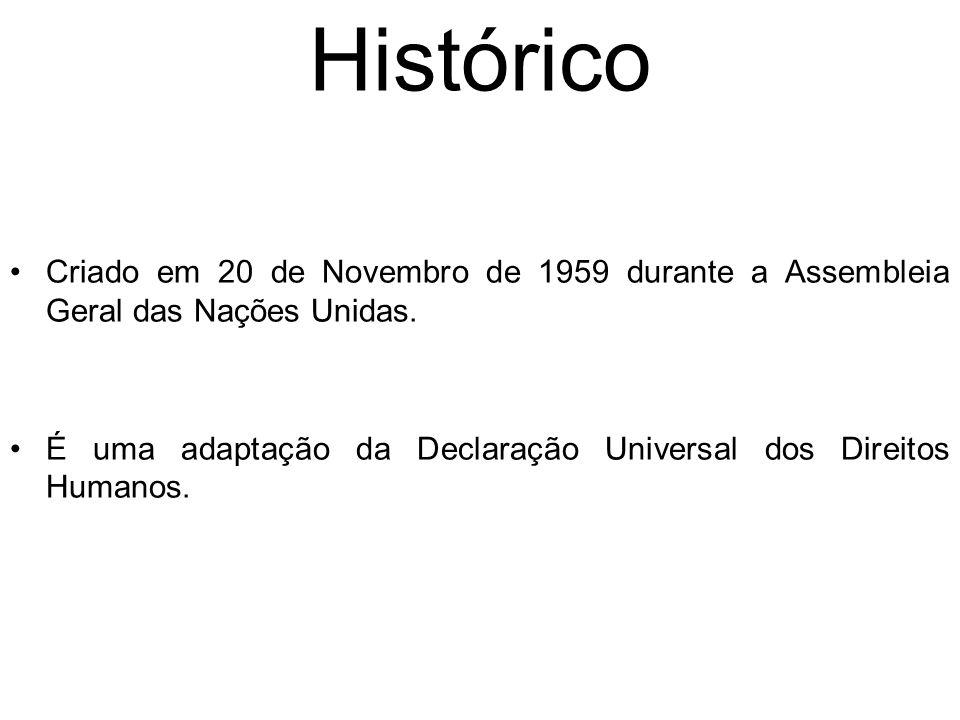 Histórico Criado em 20 de Novembro de 1959 durante a Assembleia Geral das Nações Unidas.