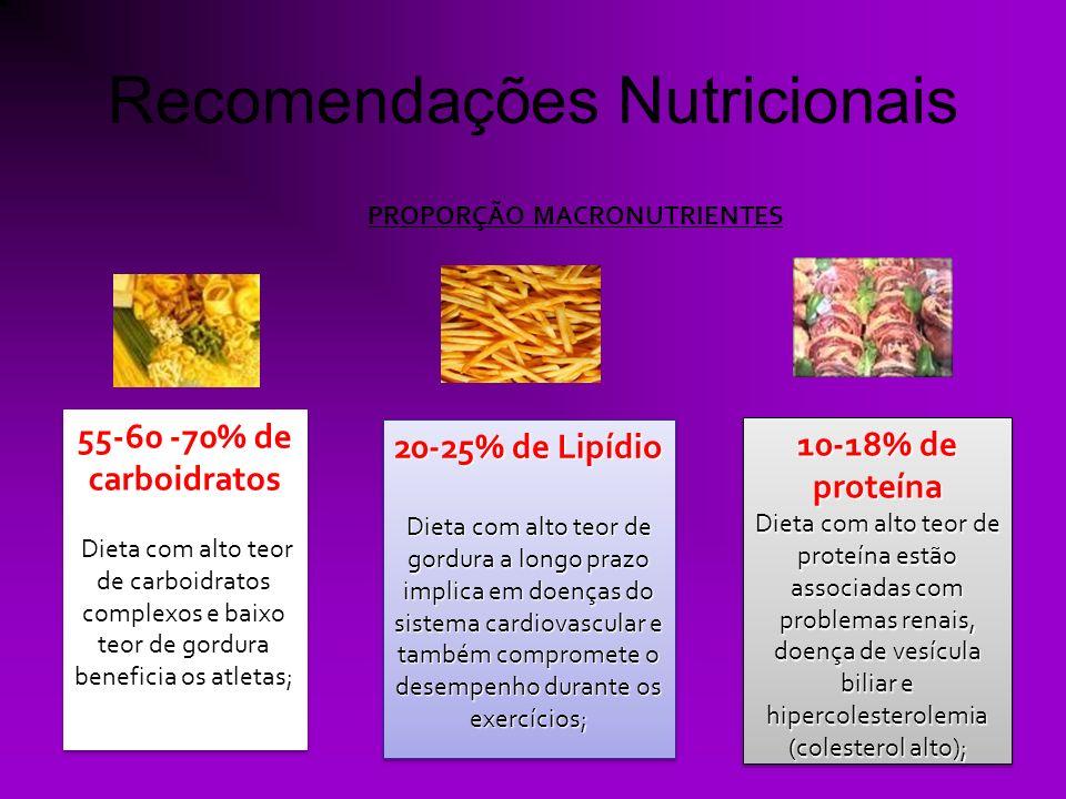 Recomendações Nutricionais PROPORÇÃO MACRONUTRIENTES 55-60 -70% de carboidratos Dieta com alto teor de carboidratos complexos e baixo teor de gordura