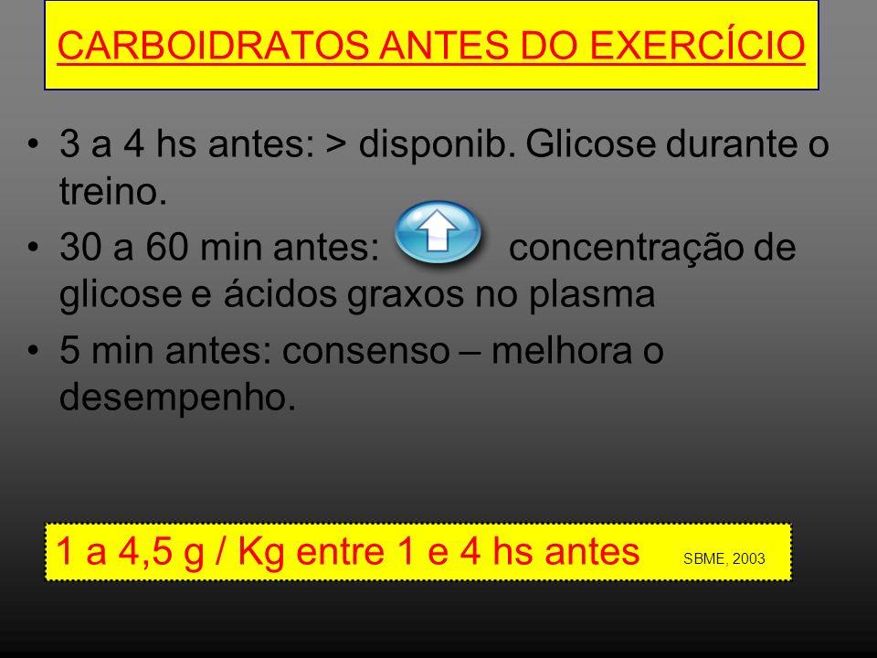 CARBOIDRATOS ANTES DO EXERCÍCIO 3 a 4 hs antes: > disponib. Glicose durante o treino. 30 a 60 min antes: concentração de glicose e ácidos graxos no pl