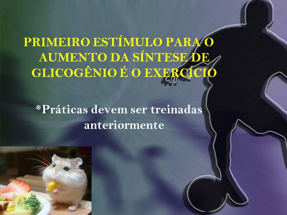 PRIMEIRO ESTÍMULO PARA O AUMENTO DA SÍNTESE DE GLICOGÊNIO É O EXERCÍCIO *Práticas devem ser treinadas anteriormente