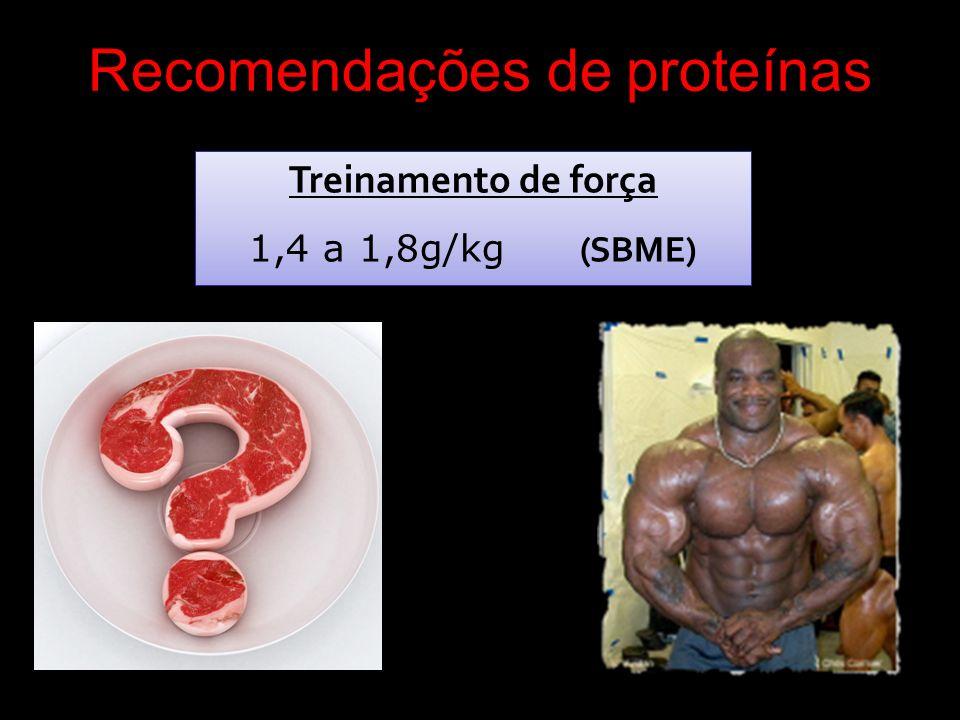Recomendações de proteínas Treinamento de força 1,4 a 1,8g/kg (SBME) Treinamento de força 1,4 a 1,8g/kg (SBME)