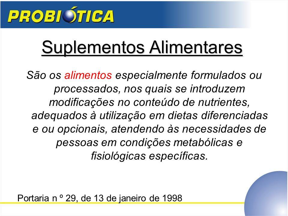 Suplementos Alimentares São os alimentos especialmente formulados ou processados, nos quais se introduzem modificações no conteúdo de nutrientes, adeq