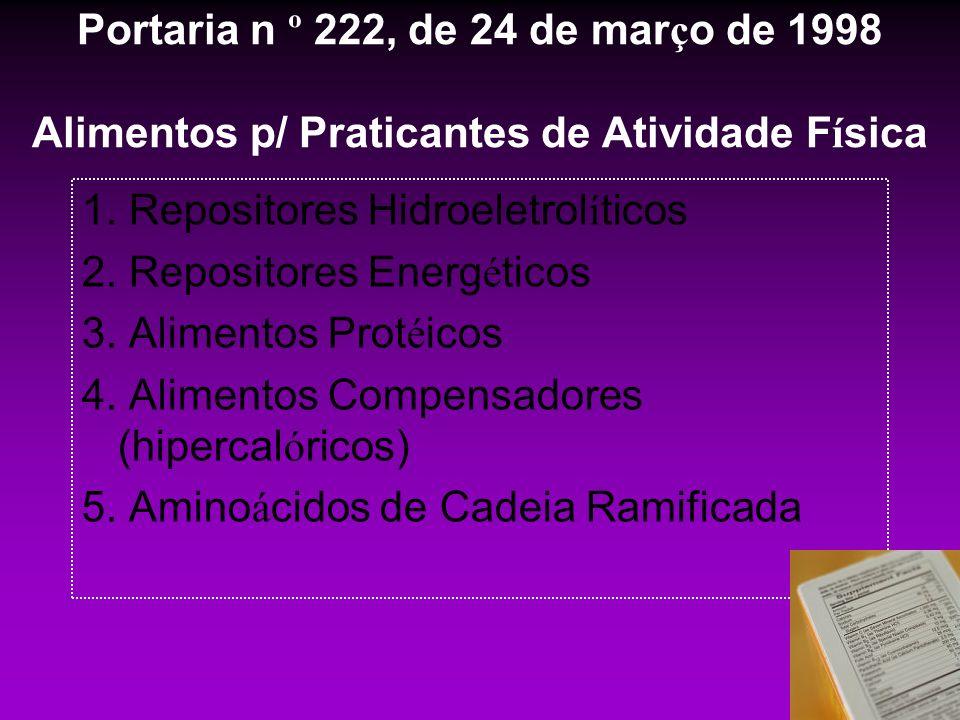 Portaria n º 222, de 24 de mar ç o de 1998 Alimentos p/ Praticantes de Atividade F í sica 1. Repositores Hidroeletrol í ticos 2. Repositores Energ é t