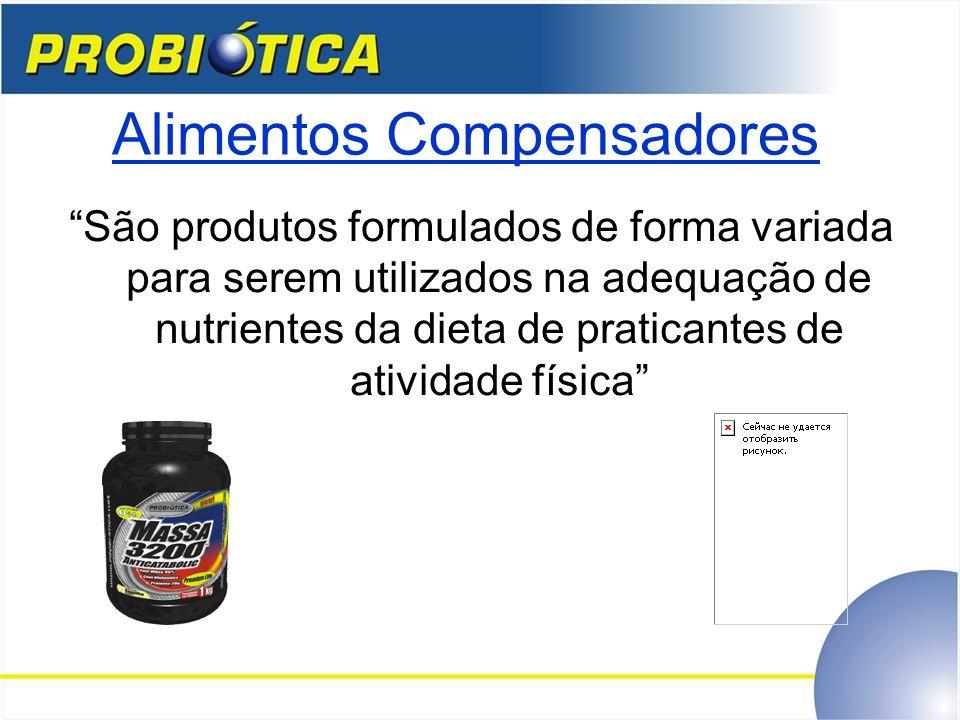 Alimentos Compensadores São produtos formulados de forma variada para serem utilizados na adequação de nutrientes da dieta de praticantes de atividade