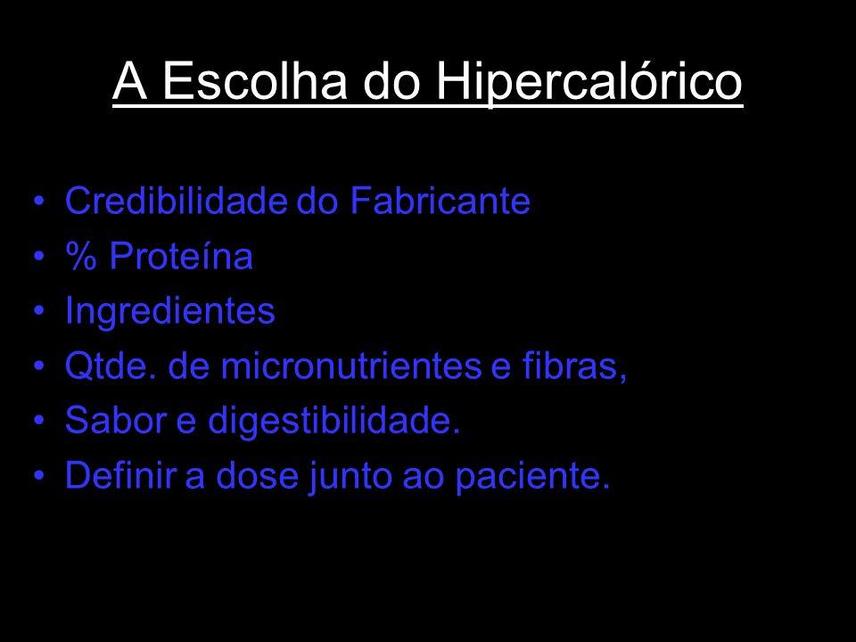 A Escolha do Hipercalórico Credibilidade do Fabricante % Proteína Ingredientes Qtde. de micronutrientes e fibras, Sabor e digestibilidade. Definir a d
