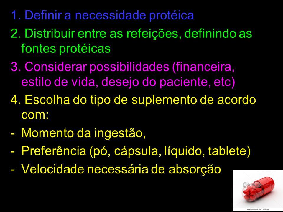 1. Definir a necessidade protéica 2. Distribuir entre as refeições, definindo as fontes protéicas 3. Considerar possibilidades (financeira, estilo de