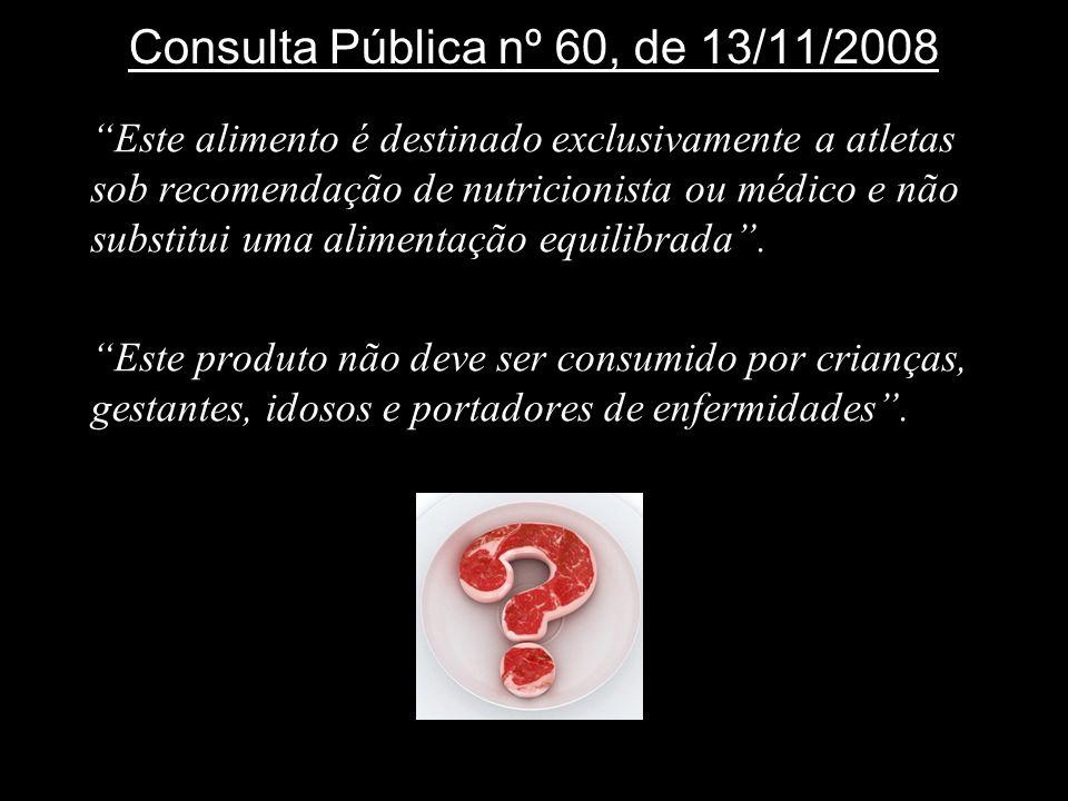 Consulta Pública nº 60, de 13/11/2008 Este alimento é destinado exclusivamente a atletas sob recomendação de nutricionista ou médico e não substitui u