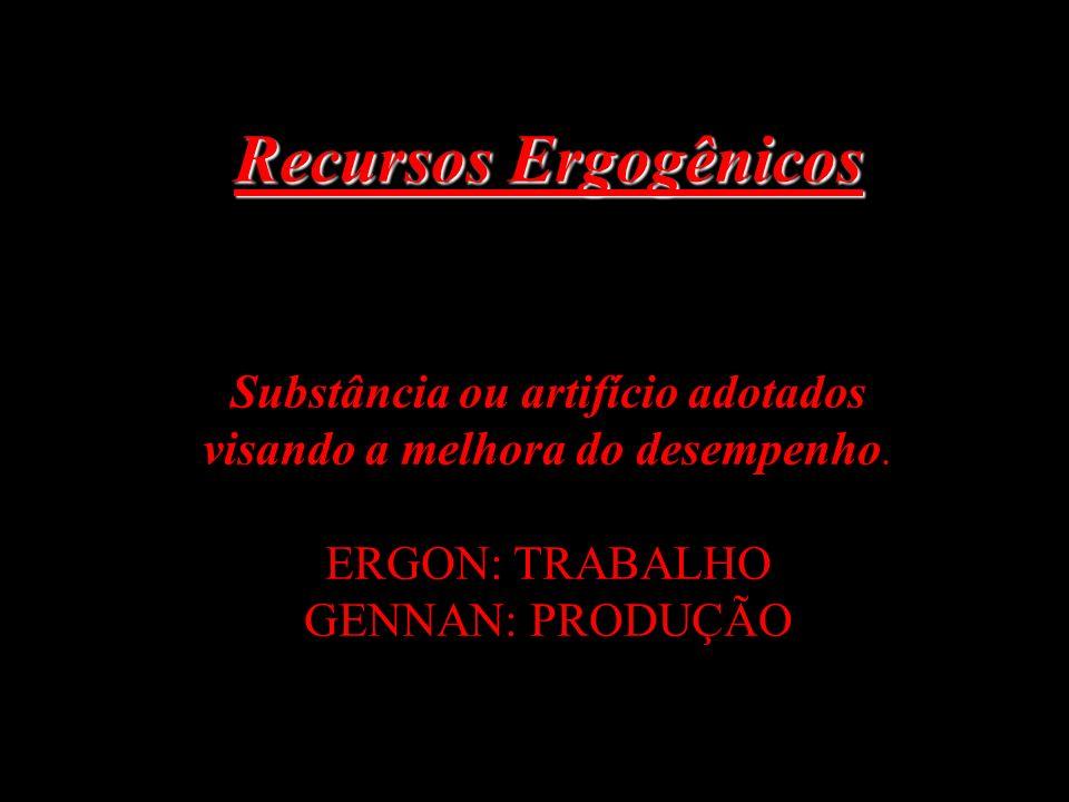 Recursos Ergogênicos Recursos Ergogênicos Substância ou artifício adotados visando a melhora do desempenho. ERGON: TRABALHO GENNAN: PRODUÇÃO