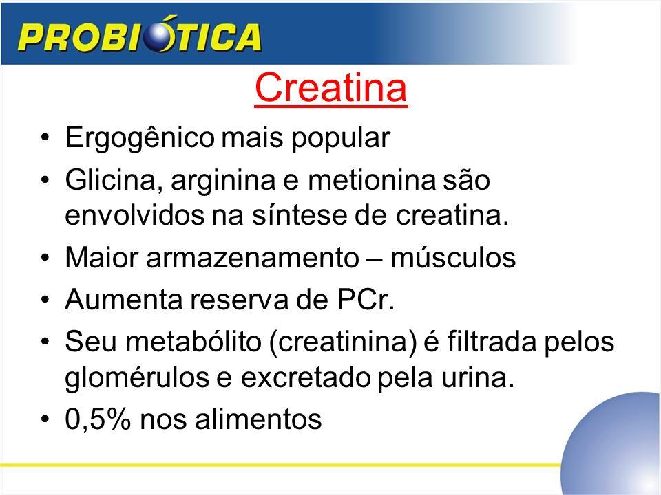 Creatina Ergogênico mais popular Glicina, arginina e metionina são envolvidos na síntese de creatina. Maior armazenamento – músculos Aumenta reserva d