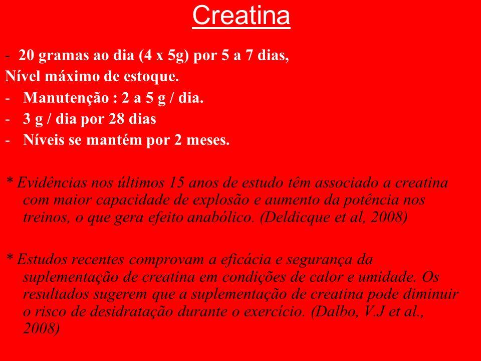 Creatina - 20 gramas ao dia (4 x 5g) por 5 a 7 dias, Nível máximo de estoque. -Manutenção : 2 a 5 g / dia. -3 g / dia por 28 dias -Níveis se mantém po