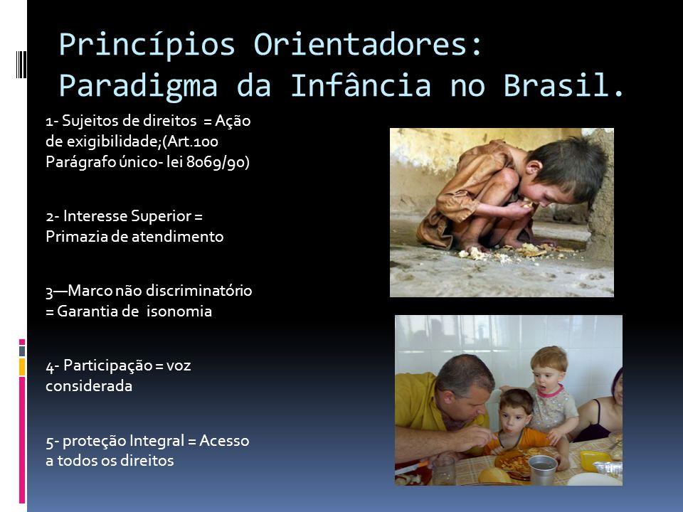 Princípios Orientadores: Paradigma da Infância no Brasil. 1- Sujeitos de direitos = Ação de exigibilidade;(Art.100 Parágrafo único- lei 8069/90) 2- In