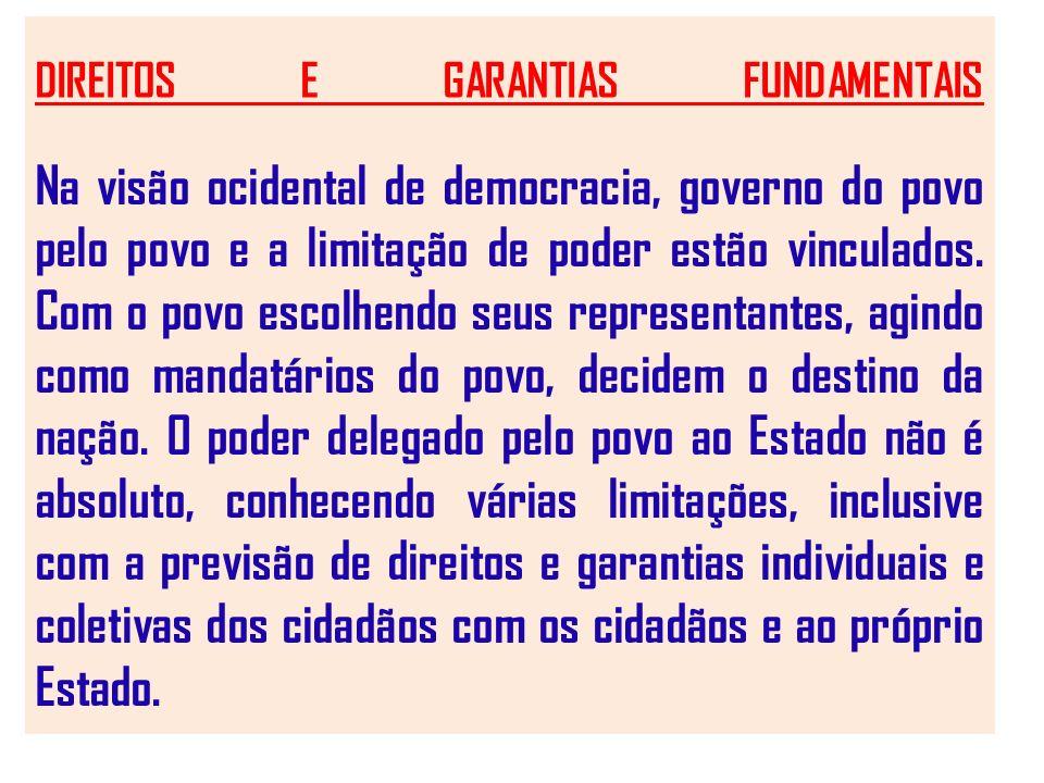 DIREITOS E GARANTIAS FUNDAMENTAIS Na visão ocidental de democracia, governo do povo pelo povo e a limitação de poder estão vinculados. Com o povo esco