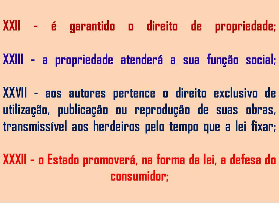 XXII - é garantido o direito de propriedade; XXIII - a propriedade atenderá a sua função social; XXVII - aos autores pertence o direito exclusivo de u