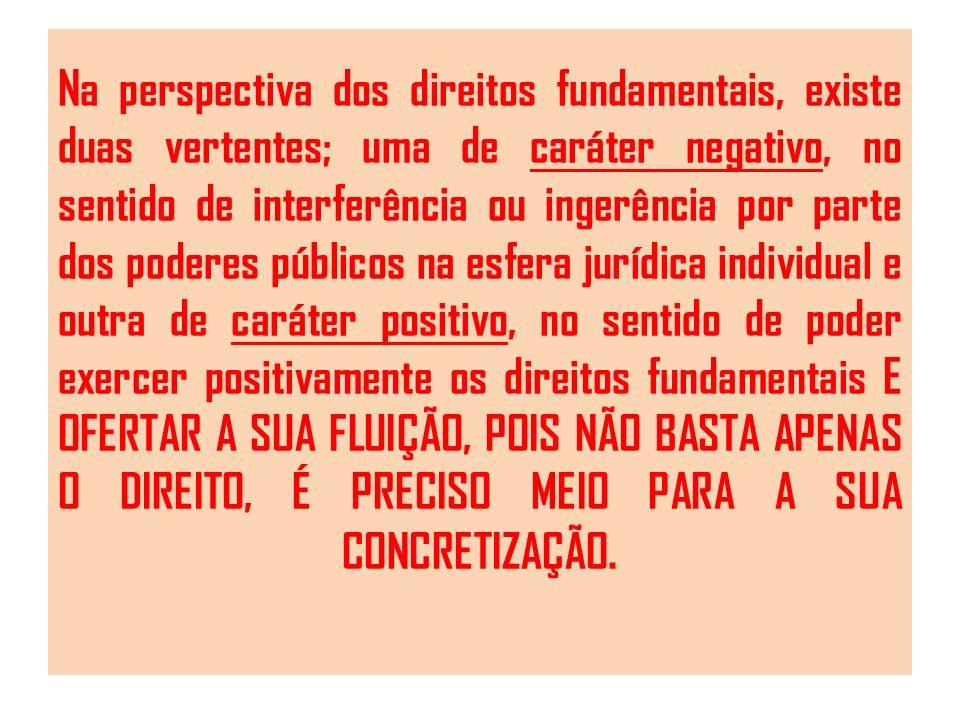 Na perspectiva dos direitos fundamentais, existe duas vertentes; uma de caráter negativo, no sentido de interferência ou ingerência por parte dos pode