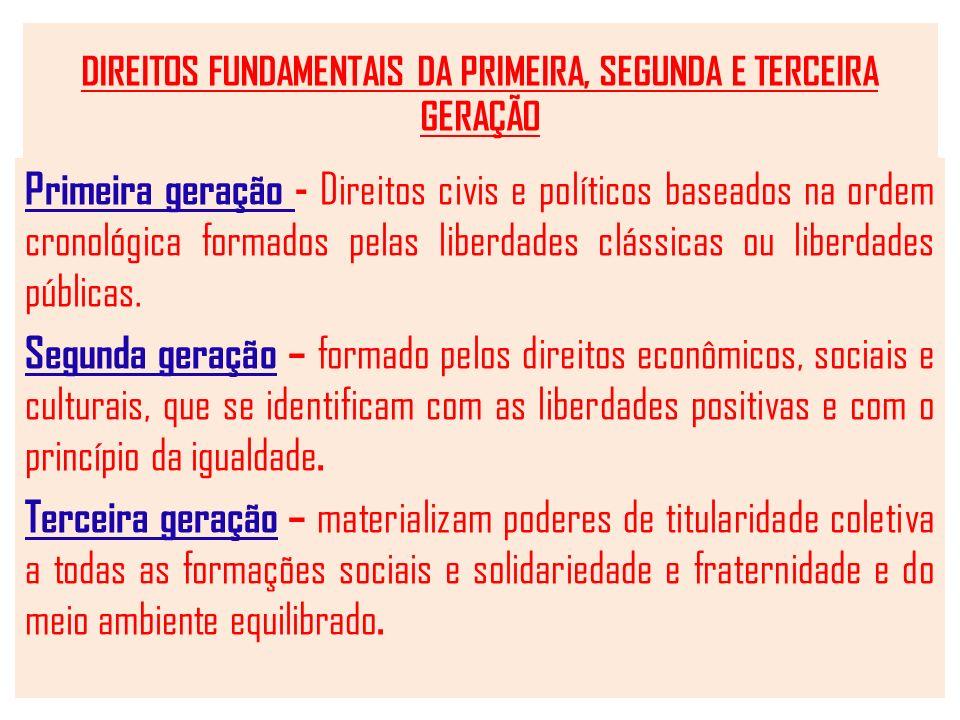 DIREITOS FUNDAMENTAIS DA PRIMEIRA, SEGUNDA E TERCEIRA GERAÇÃO Primeira geração - Direitos civis e políticos baseados na ordem cronológica formados pelas liberdades clássicas ou liberdades públicas.