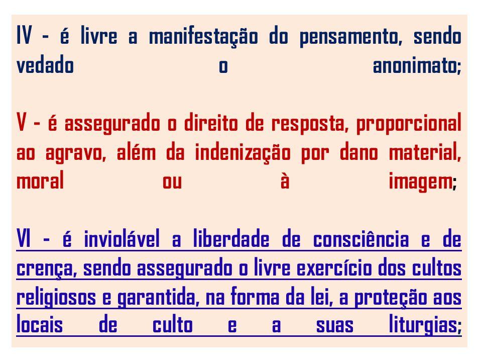 IV - é livre a manifestação do pensamento, sendo vedado o anonimato; V - é assegurado o direito de resposta, proporcional ao agravo, além da indenização por dano material, moral ou à imagem; VI - é inviolável a liberdade de consciência e de crença, sendo assegurado o livre exercício dos cultos religiosos e garantida, na forma da lei, a proteção aos locais de culto e a suas liturgias;